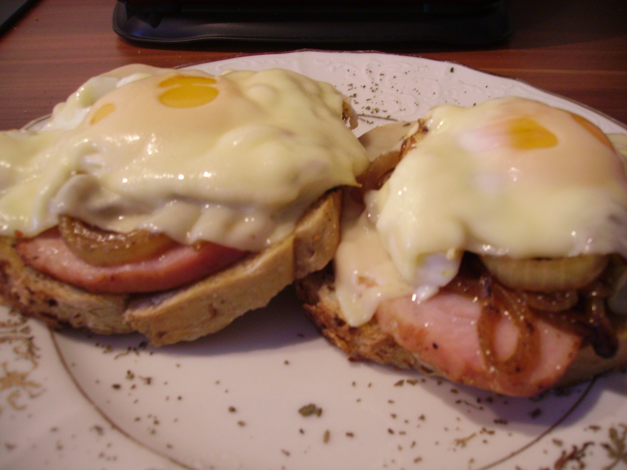 Ham, Swiss, Caramelized Onion, And Sauteed Tomato Open Faced Sandwich ...