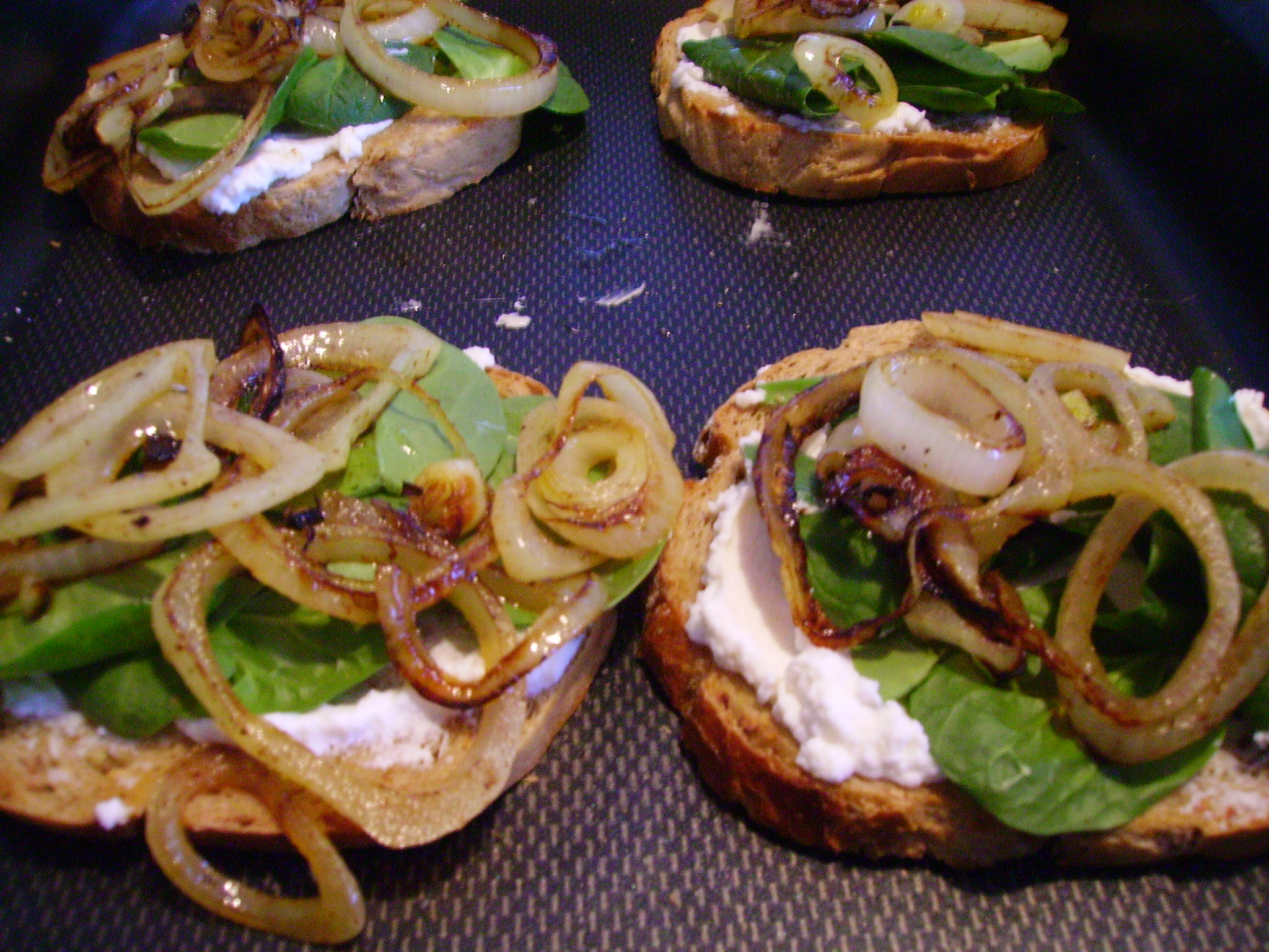 Grilled Egg on Toast with Ricotta Cheese, Baby Spinach, Grilled Onions ...